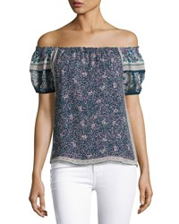 Joie Tinashe Off The Shoulder Floral Silk Top Blue