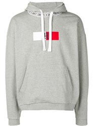 Tommy Hilfiger Logo Embroidered Hoodie Grey