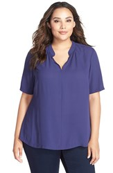Plus Size Women's Nydj Short Sleeve Split Neck Top Midnight