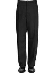 Balenciaga Baggy Wool Blend Tailored Pants Black