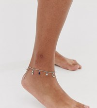 Asos Design Curve Anklet With Mystical Charms And Hamsa Hand Pendants In Silver Tone Gold