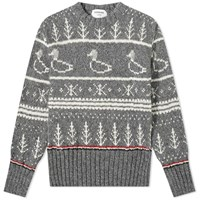 Thom Browne Duck Donegal Crew Knit Grey