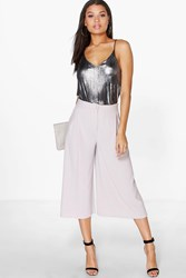 Boohoo Pleat Front Wide Leg Tailored Culottes Grey