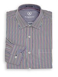 Bugatchi Classic Fit Multicolored Striped Cotton Sportshirt Plum