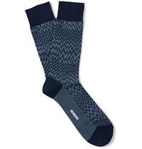 Missoni Zig Zag Patterned Cotton Blend Socks Blue