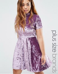 Club L Plus Crushed Velvet High Neck Short Sleeve Skater Dress Purple