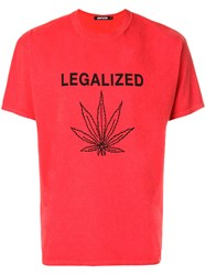 Adaptation Legalized Print T Shirt Cotton Polyester Red