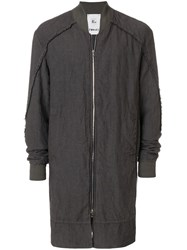 Lost And Found Rooms Long Bomber Jacket Linen Flax Grey