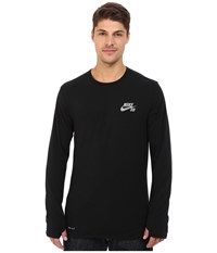 Nike Sb Skyline Dri Fit Cool Long Sleeve Crew Black Reflective Silver Men's Long Sleeve Pullover