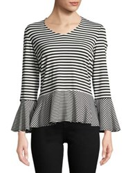 Imnyc Isaac Mizrahi V Neck Bracelet Sleeve Relaxed Peplum Top Black Cream Even Stripe