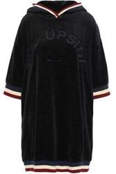 The Upside Woman Striped Cotton Blend Chenille Hooded Dress Black