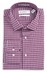 Calibrate Men's Big And Tall Trim Fit Stretch Non Iron Check Dress Shirt Purple Vintner