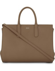 Max Mara Expandable Leather Tote Tobacco