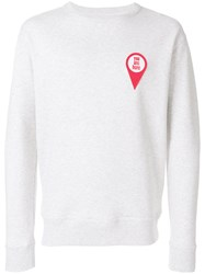 Ami Alexandre Mattiussi Crewneck Sweatshirt Red Patch You Are Here Grey