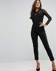 Lipsy Lace Top Long Sleeve Jumpsuit Black