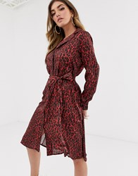 Na Kd Leopard Print Tie Satin Dress Red