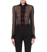 Rodarte Ruffled Silk Chiffon Shirt Black Red