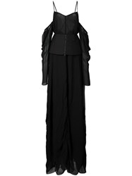 Vera Wang Off The Shoulder Draped Gown Black