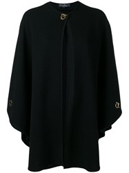 Salvatore Ferragamo Knitted Cape Women Virgin Wool S Black