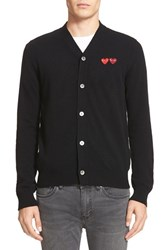 Comme Des Garcons Men's Play Double Heart Wool Cardigan