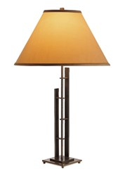 Hubbardton Forge Metra Double Tall Table Lamp Natural Iron Doeskin Suede Gray