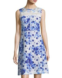T Tahari Grace Geometric Lace A Line Dress Dark Blue