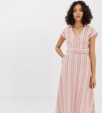 Native Youth Maxi Shirt Dress With Belt In Linen Stripe Red