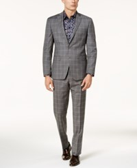 Tallia Men's Slim Fit Taupe Double Windowpane Suit