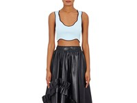Cedric Charlier Women's Compact Knit Racerback Crop Top Light Blue