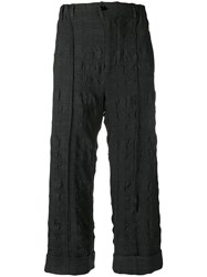 Julien David Textured Cropped Trousers Grey
