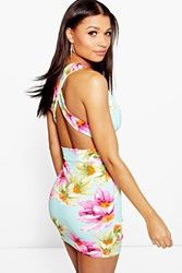 Boohoo Floral Print Open Back Bodycon Dress Multi