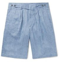 Ermenegildo Zegna Pleated Linen Chambray Shorts Blue