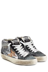 Golden Goose Glitter And Leather Mid Star Sneakers Multicolor