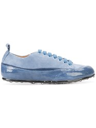 Sartori Gold Glossy Effect Lace Up Sneakers Women Leather Suede Rubber 40 Blue