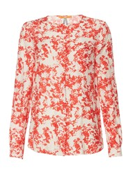 Hugo Boss Eflo Long Sleeve Floral Woven Top Pink
