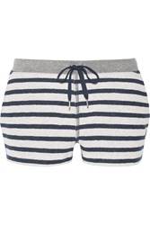 Alexander Wang Striped French Cotton Terry Shorts White