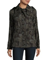 Vince Camuto Camo Print Hooded Parka Olive Green