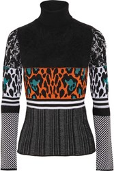 Just Cavalli Intarsia Knit Wool Blend Turtleneck Sweater Multi