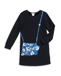 Little Marc Jacobs Long Sleeve Knit Trompe L'oeil Shift Dress Navy Size 4 12