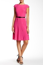 Anne Klein Solid Belted Cap Sleeve Dress Pink