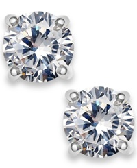 Charter Club Silver Tone Cubic Zirconia Round Stud Earrings