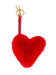 Anya Hindmarch Mink Heart Bag Charm Women Leather Mink Fur One Size Red