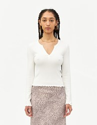 Farrow Marie V Neck Top In Ivory Size Small Spandex