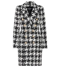 Balmain Tweed Wool Blend Coat White