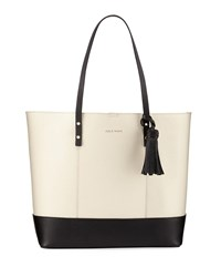 Cole Haan Bayleen Two Tone Leather Tote Bag Black White