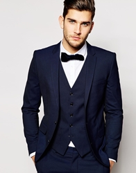 Selected Tuxedo Jacket With Jacquard In Skinny Fit Navy