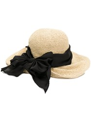 Ca4la Oversized Bow Woven Hat Brown