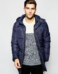Blend Of America Blend Quilted Jacket Hooded Long Navy