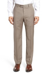 Monte Rosso Men's Flat Front Stripe Wool Trousers Tan