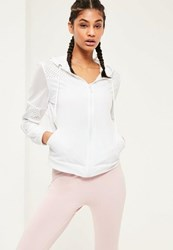 Missguided Active White Woven Mesh Airtex Sports Jacket